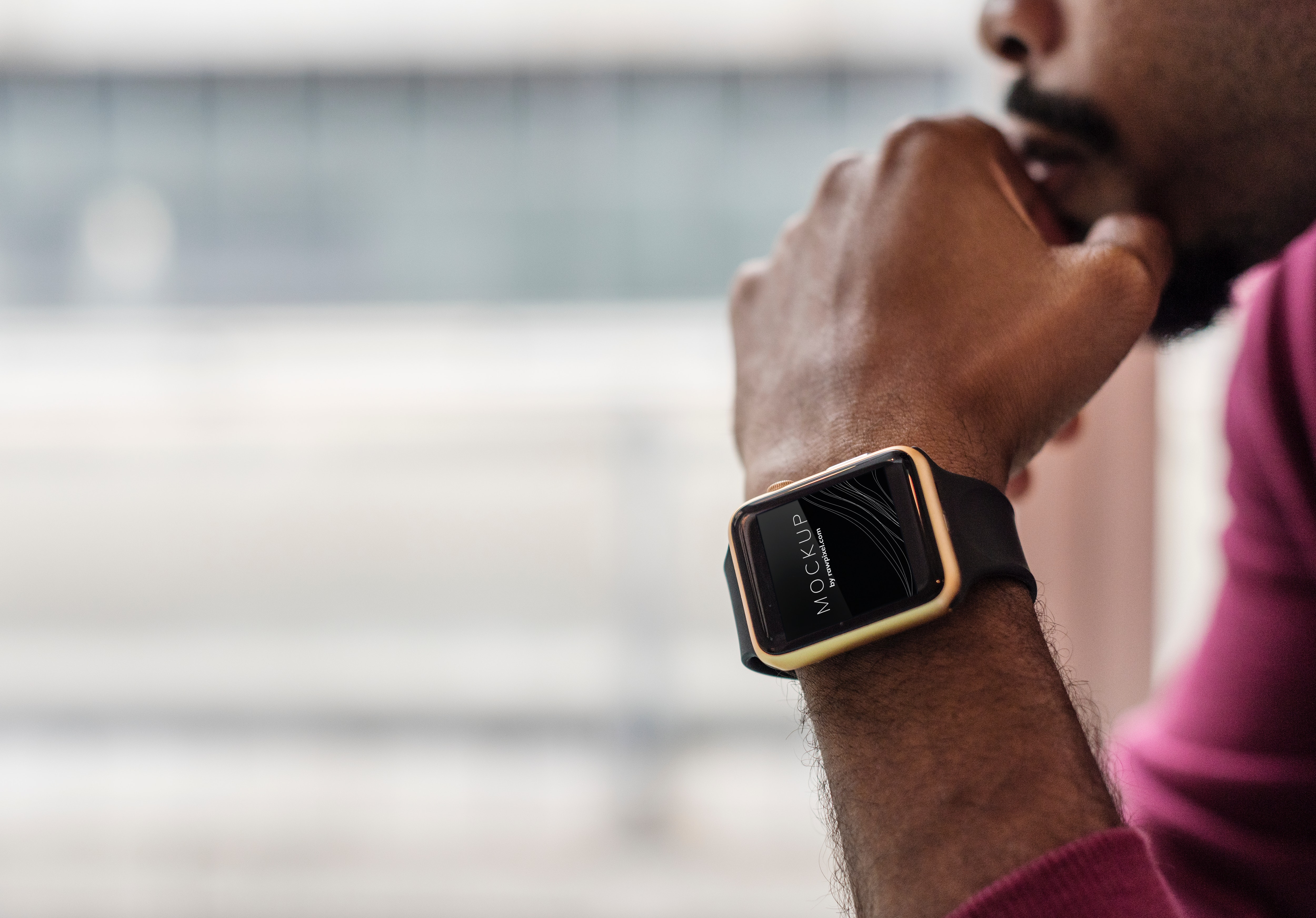 A man wearing a smartwatch
